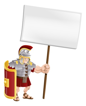 Cartoon illustration of a tough looking Roman soldier holding a sign board