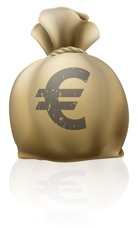 moneybag: Illustration of a big sack with Euro currency sign Illustration