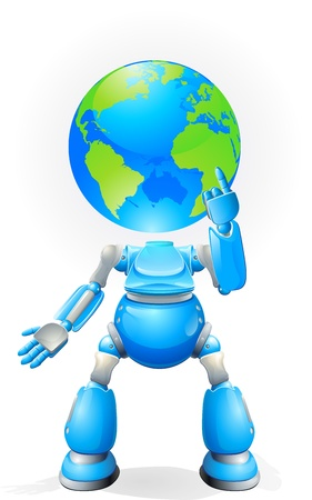 world thinking: A world blue robot with a globe for a head. Conceptual illustration.