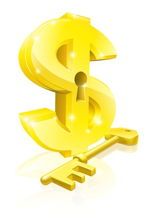 opportunity sign: Conceptual illustration of a gold dollar sign and key. Concept for unlocking financial success or cash or for financial security.