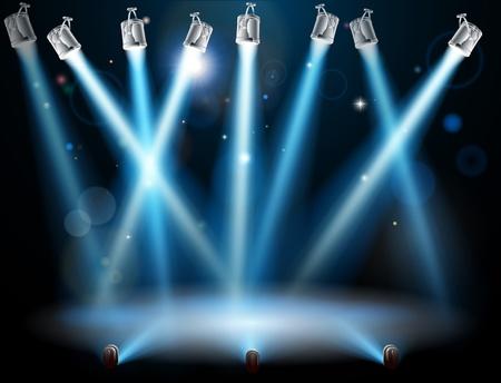 spotlight lamp: Un concetto di proiettore sfondo blu con un sacco di luci come fari in uno spettacolo di luci o durante uno spettacolo drammatico palcoscenico di un teatro Vettoriali