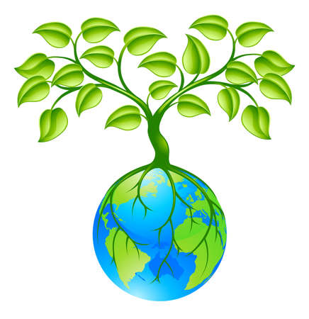 Concept illustration of planet earth world globe with a tree growing on top. Any number of green environmental or business growth interpretations. Vector