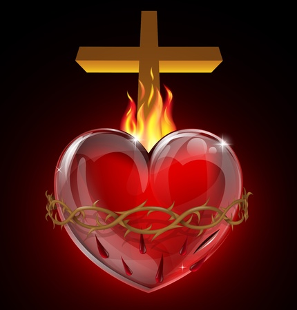 Illustration of the Most Sacred Heart of Jesus. A bleeding heart with flames, pierced by a lance wound with crown of thorns and cross. Vector