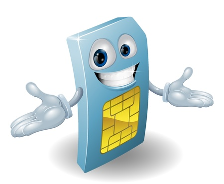 sim: A mobile phone subscriber identity module card mascot
