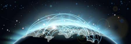전세계에: 비행 경로 또는 무역 노선 또는 국가와 도시 사이의 통신을 가진 세계지도 네트워크 배경
