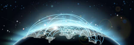 weltweit: Eine Weltkarte Netzwerk Hintergrund mit Flugbahnen oder Handelsrouten oder die Kommunikation zwischen L�ndern und St�dten