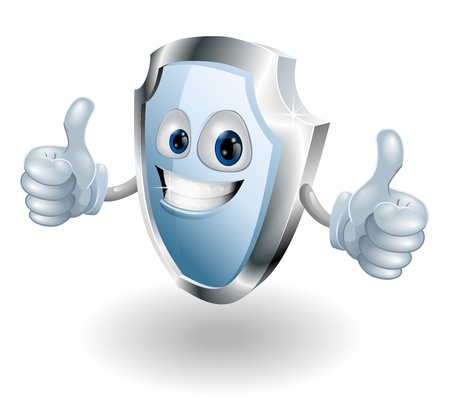 A cartoon happy shield man could be for any internet or real world security related use Vector