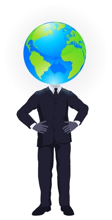 big head: A business man with a globe for a head. Business concept for looking at the big picture or global strategic planning