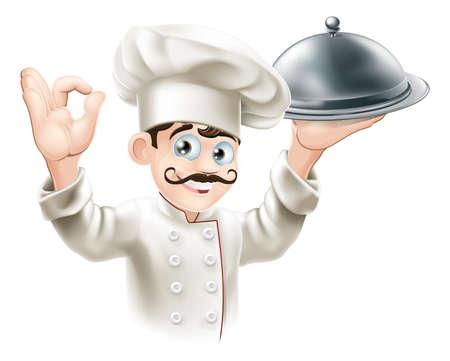 cocinero: Ilustraci�n de un chef gourmet bandeja de plata sosteniendo y dando una se�al bien