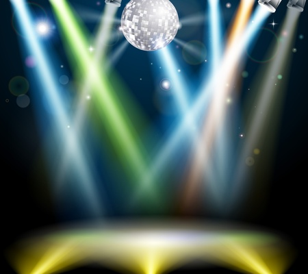 flier: Illustration of a spotlit disco dance floor with mirror ball or disco ball Illustration