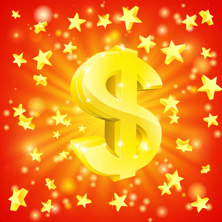 dollar sign icon: Exciting financial success concept with gold dollar sign flying out of background with stars Illustration