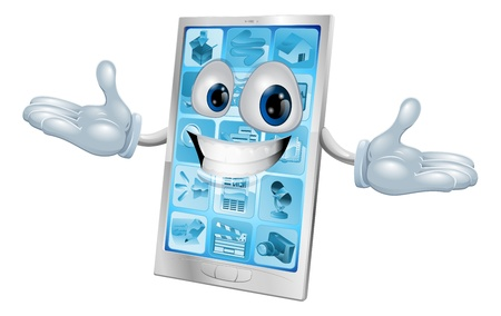 Happy smiling silver and blue phone cartoon character or mascot Vector