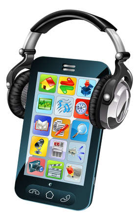 A cell phone wearing large dj headphones Vector