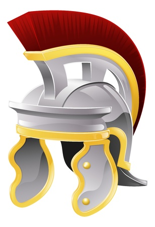military helmet: Illustration of Roman soldiers galea style helmet with red crest