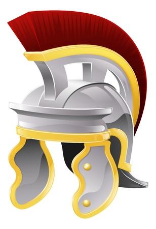 soldati romani: Illustrazione del casco stile soldato romano con cresta rossa galea Vettoriali