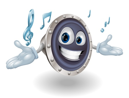 Illustration of a smiling cartoon speaker man character Stock Vector - 13654298
