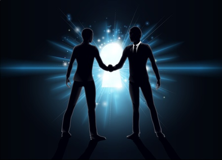 opportunity concept: Business opportunity concept, business men shaking hands with keyhole in the background  Illustration