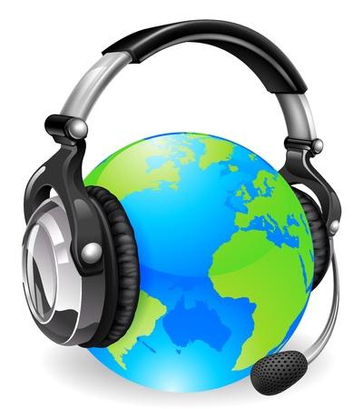 earbud: Ayuda auricular mesa globo terr�queo. Concepto de chat en l�nea o soporte telef�nico.