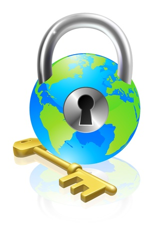shackle: World globe like a locked padlock with key. Concept could be for internet security, data protection or general security