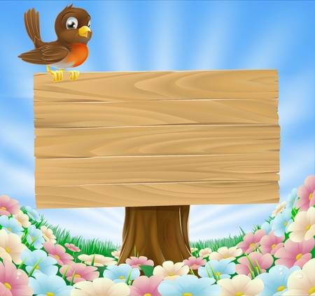 A cute cartoon robin bird sitting on a wood sign in a field of pretty flowers Stock Vector - 13934568