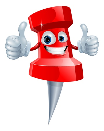 pin up: A red happy red cute push pin man giving a double thumbs up Illustration