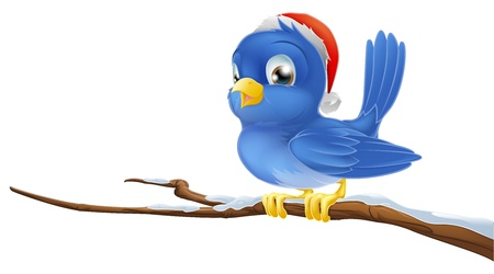 songbird: A blue bird sitting on snow covered branch wearing a Christmas hat