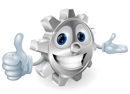 Illustration of a cute cartoon cog mascot giving a thumbs up Vector