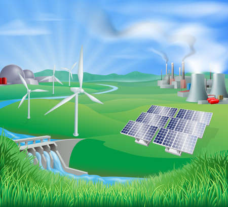 Illustration of many different types of power generation, including nuclear, fossil fuel or coal, and renewable energy or sustainable energy sources such as wind power or wind turbines, photovoltaic cells or solar panels, and hydro electric or water power