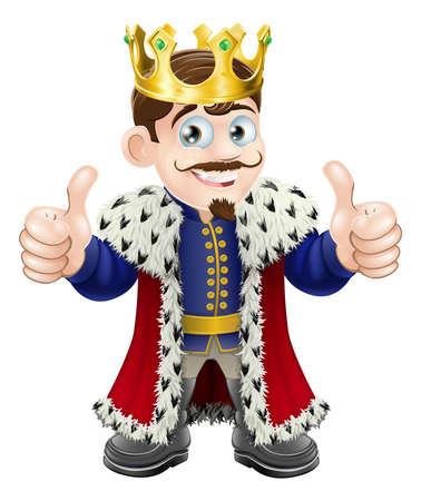 rey: Ilustraci�n de dibujos animados de un rey lindo con la corona y una capa con un pulgar hacia arriba dobles