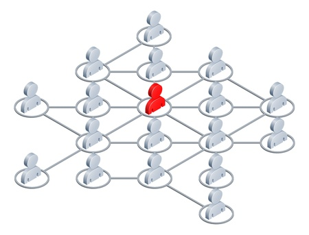 linked: Conceptual illustration of a network of people linked together like the internet or social media network Illustration