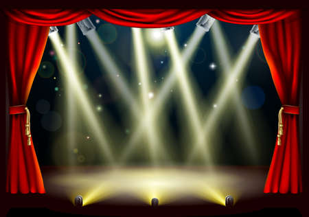 curtain theater: Ilustraci�n de un escenario de teatro con un mont�n de luces del escenario y las luminarias con candilejas