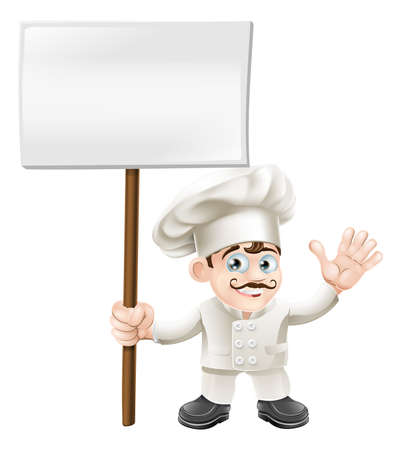 gourmet cooks: Chef mascot character waving and holding a sign cartoon