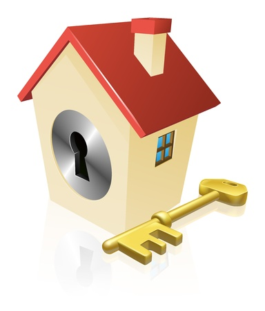 Conceptual illustration of a house with keyhole and gold key Vector