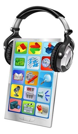 earbud: Concepto ilustraci�n de un tel�fono m�vil con auriculares de m�sica