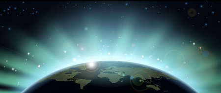 World globe map eclipsing the sun directly behind it. Vector