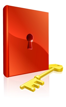Key to learning illustration of red book with keyhole and a gold key Stock Vector - 14002218