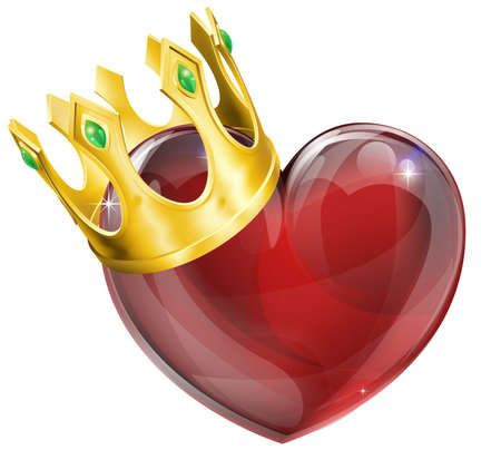 yellow crown: Illustration of a heart symbol wearing a crown, king of hearts concept Illustration