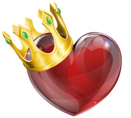 heart and crown: Illustrazione di un simbolo del cuore con una corona, re di cuori concept Vettoriali