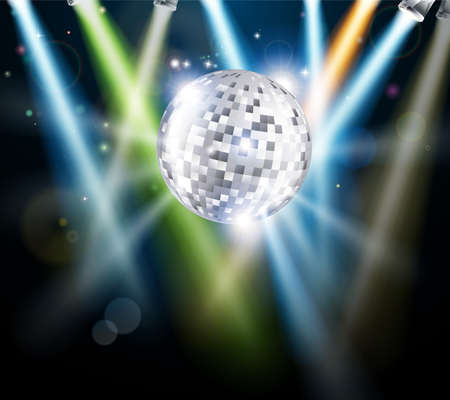 Illustration of a disco mirror ball or glitter ball with disco lights  Stock Vector - 14002221