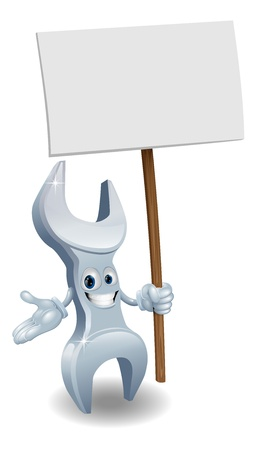 spanners: A wrench or spanner cartoon character holding up a sign post