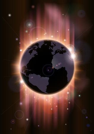 A futuristic world globe concept illustration with light rays and stars Vector