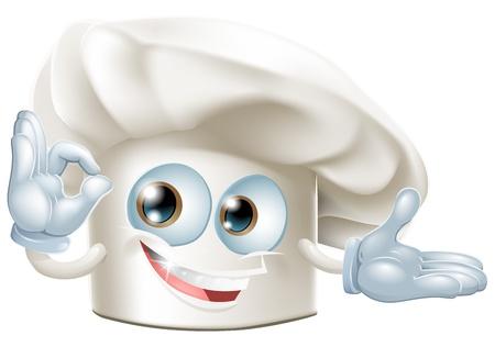 A happy cartoon bakers hat mascot man Vector
