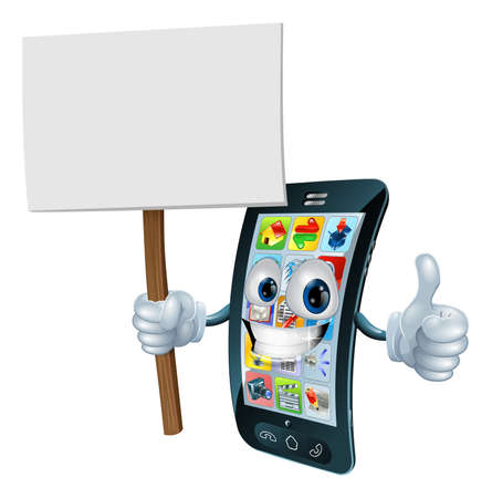 mobile app: Mobile phone mascot character holding an announcement board sign smiling and doing a thumbs up gesture