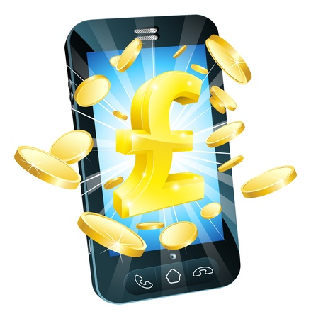 Pound money phone concept illustration of mobile cell phone with gold Pound sign and coins Stock Vector - 14052154