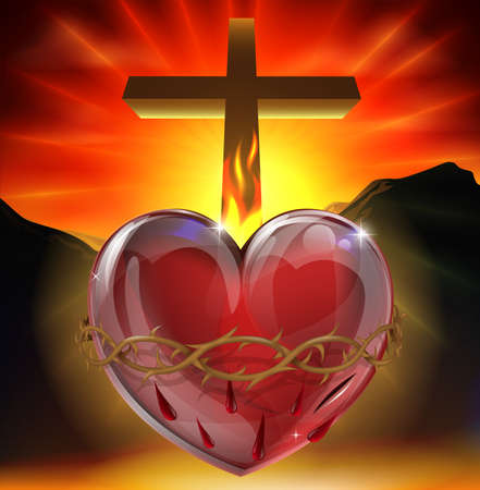 Illustration of the Christian symbol of the sacred heart. A heart shining with divine light with crown of thorns,  lance wound and flame representing divine love. Vector