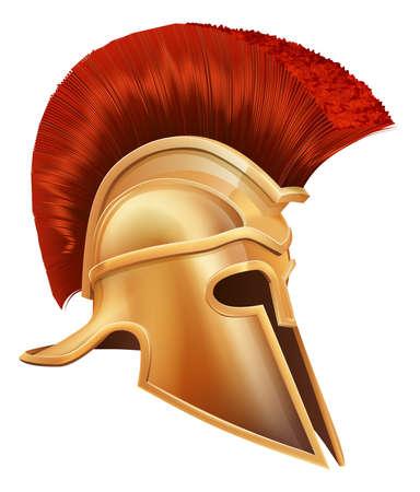 casco rojo: Ilustración de un casco de guerrero griego antiguo, casco espartano, casco romano o un casco de Troya. Vectores