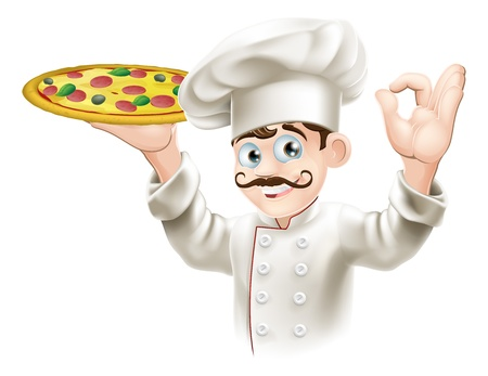 cartoon chef: A happy cook from a pizzeria or Italian restaurant holding a pizza