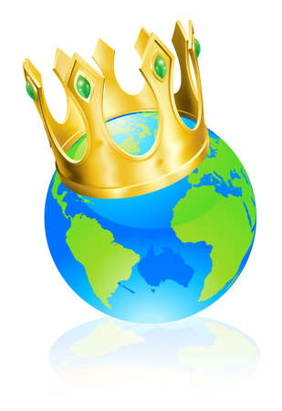 top of the world: World globe wearing a crown, king of the world or champion concept