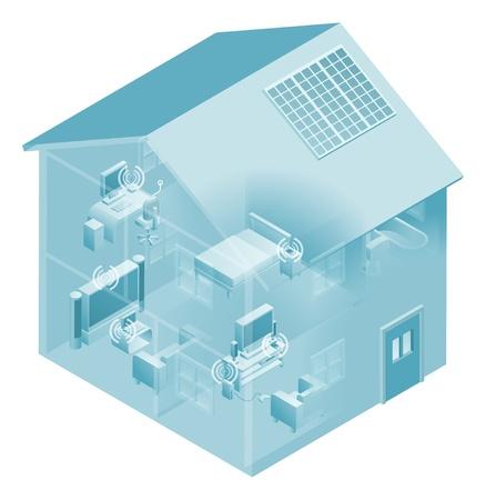 wifi access: Rete locale con dispositivi come i telefoni, console per videogiochi, PC computer desktop, laptop e tv collegati in una rete, cablata e wireless. Vettoriali
