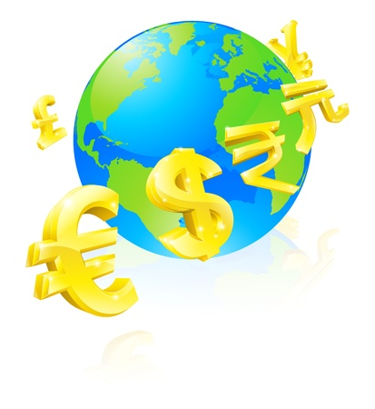 foreign: International currency signs flying around a world globe Illustration